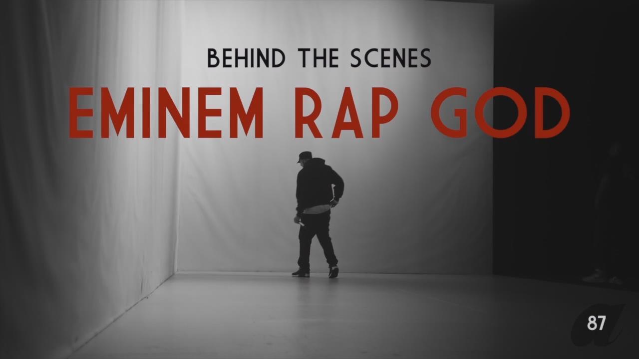 Eminem behind the scenes of live music video for rap god